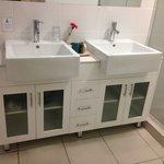 Twin vanity in bathroom