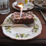 Rocky road with a birthday candle!