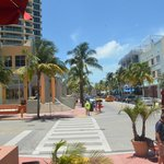 The view of Ocean Drive from outside seatings.