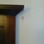 Stain on the wall near the headboard!
