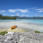 Kayak to neighboring motu.  Looking back at Vahine.
