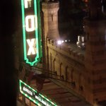 The view from our window of the Fox theatre at night