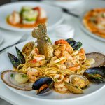 Linguine with fresh local seafood