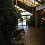 View of the hotel entrance, coming into the Blue Wave Bar & Grill  |  2051 Shelter Island Dr, Sa