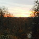 sunset from levitt falls bridge trailhead