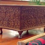 Beautiful carved chest in the entrance lobby