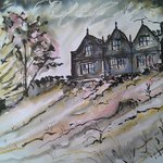 Painting of East Riddlesden Hall from the field (overflow car park)