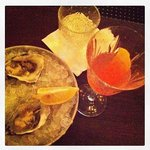Off the menu Campari based cocktail + Oysters on ice