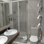 Toilet is very small. Shower cubic is small and if one is bigger, you will definitely knock your
