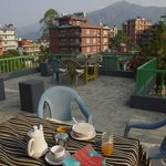 Balcony with morning porridge & ginger tea