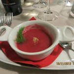 Complimentary beet soup appetizer - delicious!