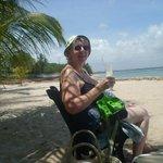 Enjoying the sunshine on the beach.
