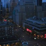 This is a very early morning view from my window. The pink area is Victioria Secret on Robson.
