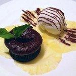 Chocolate Lava Cake with Coconut Gelato