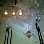 Офомление столов на ужине