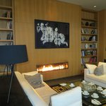 Gasfire centrepiece in the compact Lounge area