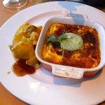 Vegetarian Boboti with lentils
