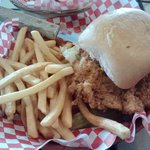 Chicken Fried Chicken sandwich with fries
