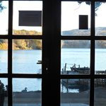 View through the glazed front doors of Pitlochry Boating Station Cafe - 05 November 2013