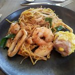 Asian Seafood and noodles with a Chicken Dumpling