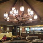Restaurant at the hotel.  Beautiful chandelier