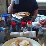 Hubby enjoying breakfast