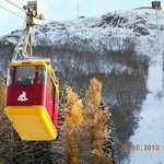 Taking the cable car at Fjellheisen - 4mins to the top