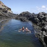 My friend and I swimming in the tidal pool