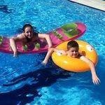 erin and daniel enjoying the pool