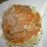 Grilled Chicken & Shrimp in a Rosa Sauce over Fettuchini