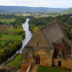The view from the ramparts over the 12th Century chapel with the Dordogne River below.