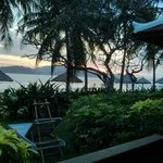 Enjoying the sunrise from our suite's porch.