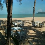 The view from the beachfront restaurant.