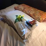 Flowers and chocolate by the turn down service