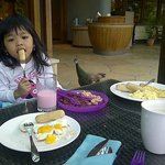 Breakfast with peacock, a Komodo also join us