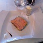 Foie gras au quatre épice avec crème glacée à l'oignon