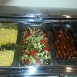 sausages (separated), scrambled eggs (separately), grilled vegetables (separately)