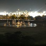 Yas Marina Circuit from Yas Plaza at night.