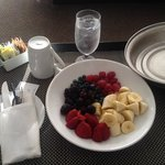 Fresh fruit, ice water, sugar packets and a mug= $13 :(  The fruit was delicious!