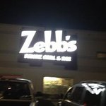Front of Zebb's at night
