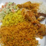 Jollof / Fried Rice with Salad and Chicken
