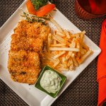 Japanese style Fried Fish with furikake fries and wasabi tartar