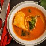 Crab Wonton Soup in tomato broth