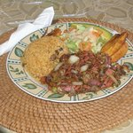 Filet of Red Snapper with rice, salad and plantains, yummy !!!