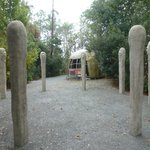 The ceremonial circle outside the long house in the Indian Village