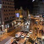 The view from our room of La Gran Via.