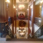 The staircase from the lobby to the dining room