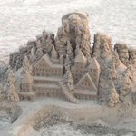 Neat sand castle on the beach by the hotel.