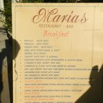 Menu from the street