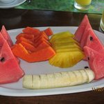 Beautiful fruit platter served to us each morning.